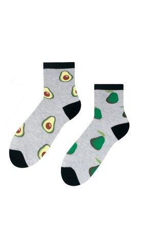 Șosete gri de damă cu avocado S159-002