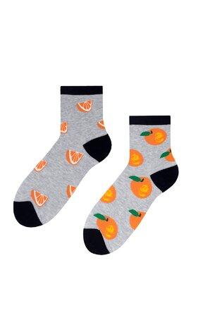 Șosete gri cu portocale S159-008