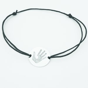 Bratara 2 maini unite - Argint 925, snur negru