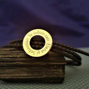 Bratara barbati model Compas cu mesaj personalizat - Argint 925 placat cu Aur 14K si Piele