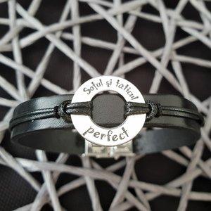 Bratara barbati model Disc cu mesaj personalizat - Argint 925, piele, inchizatoare fixa clips otel inoxidabil