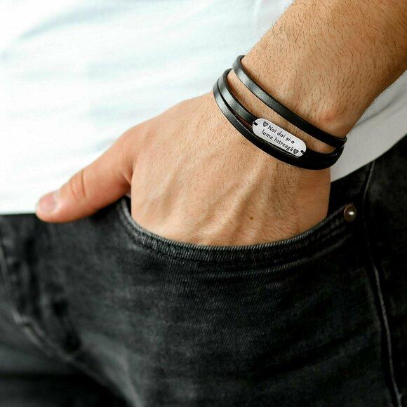 Bratara barbati - Placuta din Argint 925 personalizata - 3 straturi de piele - inchizatoare clips