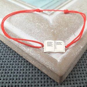 Bratara Carte - Argint 925, snur rosu reglabil