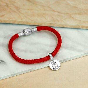 Bratara cu snur matase naturala de 3 mm - Charm banut personalizat - Argint 925 - Snur diverse culori - Inchizatoare inox