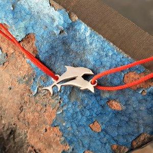 Bratara Delfini - Argint 925, snur rosu