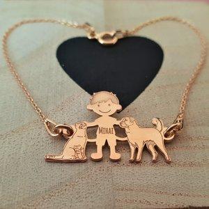 Bratara Familie - 3 Membri - baiat cu pisica si caine Ciobanesc turcesc Kangal - Argint 925 placat cu Aur roz 14K, cu lantisor