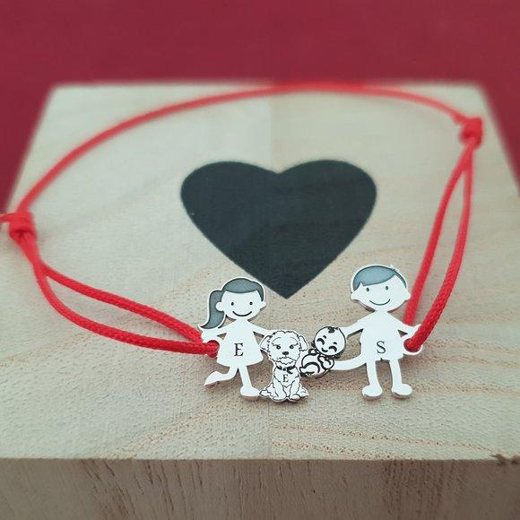 Bratara Familie 4 membri - copii, caine si bebe - Argint 925, snur rosu