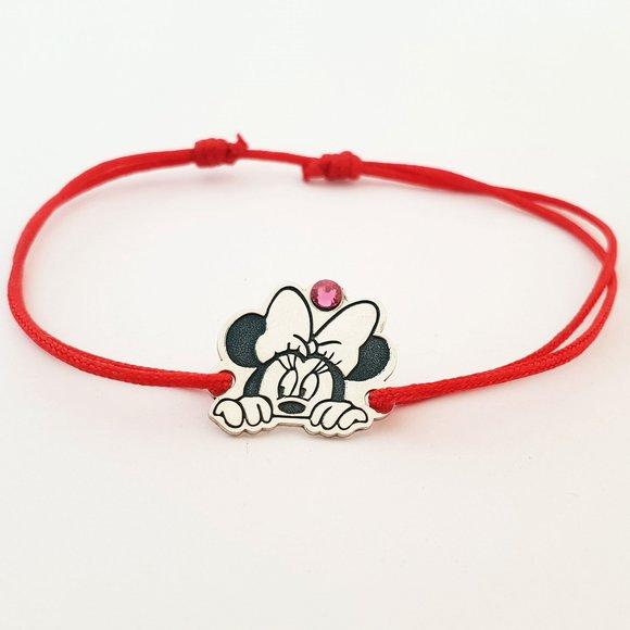 Bratara personaj - Minnie Mouse - model decupat - Argint 925 - cristal Swarovski -  snur reglabil