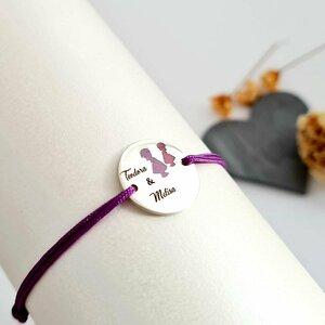 Bratara personalizata - 2 Fete - Banut de 15 mm decorat cu email - Argint 925 - Snur reglabil