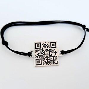 Bratara personalizata cu QR code - Argint 925 si snur reglabil