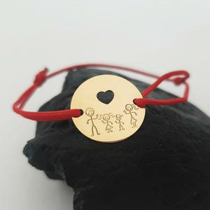 Bratara personalizata - Happy family - Banut 15 mm cu inima decupata - Aur Galben 14K - snur reglabil