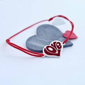 Bratara personalizata - Inima LOVE decorata cu email - Argint 925 - Snur reglabil, diverse culori