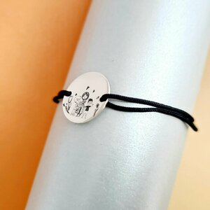 Bratara personalizata - Mama si 2 baieti  - Banut de 15 mm  - Argint 925 - snur reglabil