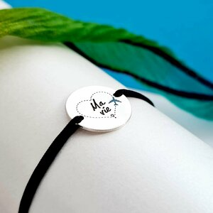 Bratara personalizata - Simbol calatorie - Banut de 15 mm decorat cu email - Argint 925 - snur reglabil