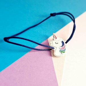 Bratara personalizata - Unicorn decorat cu email - Argint 925 - Snur reglabil, diverse culori