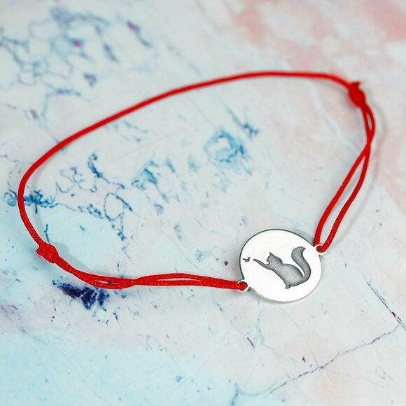 Bratara Pisica gravata -  Argint 925, snur rosu