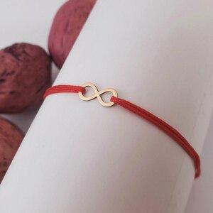 Bratara simbol - Infinit - Aur Roz 14K - snur reglabil