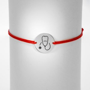 Bratara Stetoscop - Argint 925, snur rosu reglabil