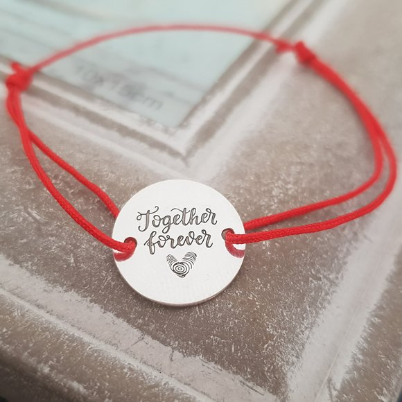 Bratara Together forever - Argint 925, snur rosu