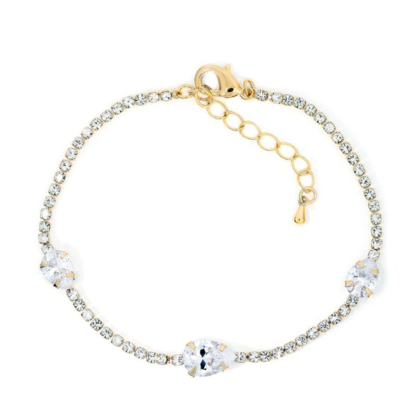 Bratara - White Crystals - placata cu aur 18K