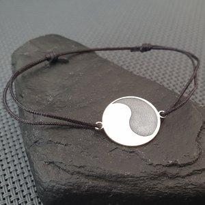 Bratara Yin&Yang - Argint 925, snur negru reglabil