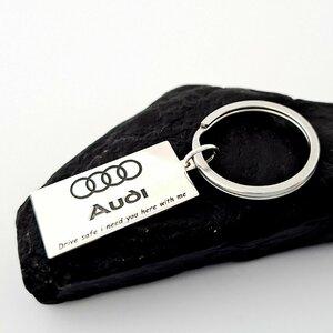 Breloc placuta gravata cu simbolul Audi - Argint 925 - inel otel inoxidabil