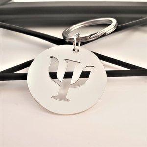 Breloc Rotund PSI - simbol Psihologie decupat - Argint 925, inel otel inoxidabil