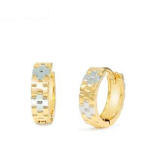Cercei - Classic Gold&Silver Pattern - placati cu aur 18K