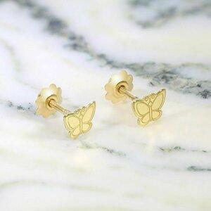 Cercei copii/bebe - Model fluture - Aur Galben 14K - Inchizatoare sigura si confortabila cu filet