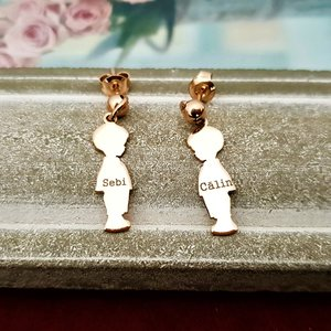 Cercei Copii siluete laterale - Argint 925 placat cu Aur Roz 14K