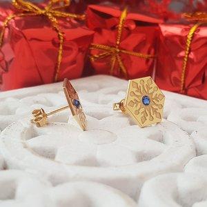 Cercei Craciun - Model Hexagon - Cristal de zapada - Argint 925 placat cu Aur galben 14K - cristal Swarvski - inchidere surub