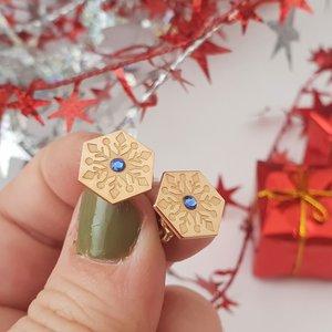 Cercei Craciun - Model Hexagon - Cristal de zapada - Argint 925 placat cu Aur roz 14K - cristal Swarvski - inchidere surub