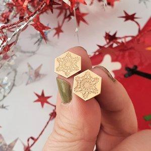 Cercei Craciun - Model Hexagon - Fulg de zapada - Argint 925 placat cu Aur roz de 14 K - inchidere surub