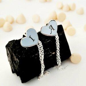 Cercei personalizati - Model inima cu lantisoare - Argint 925 - Inchidere surub