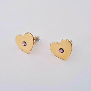 Cercei inima - model cu cristal Swarovski - Aur Galben 14K - inchidere surub