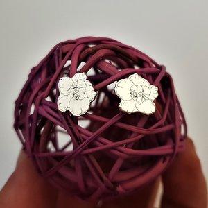 Cercei personalizati - Floare de Camelie - Argint 925 - inchidere surub
