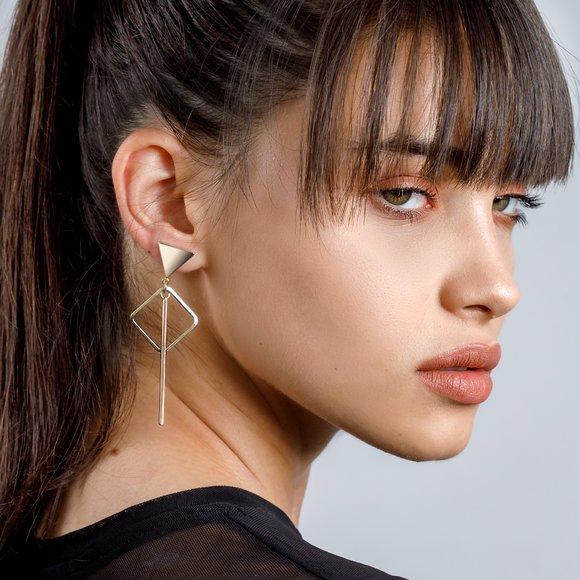 Cercei - Triangle Elegance - placati cu aur 18K