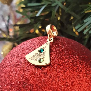 Charm personalizat Craciun - Brad cu globuri - Argint 925 placat cu Aur galben 14K - cristale Swarovski