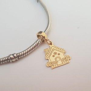 Charm personalizat Craciun - Casa de turta dulce - Argint 925 placat cu Aur galben 14K