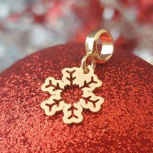 Charm personalizat Craciun - Fulg de nea - Argint 925 placat cu Aur galben 14K