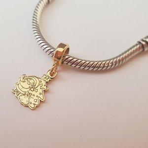 Charm personalizat Craciun - Mos si brad - Argint 925 placat cu Aur galben 14K