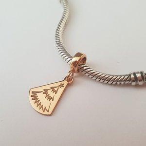 Charm personalizat Craciun - O brad frumos - Argint 925 placat cu Aur roz 14K