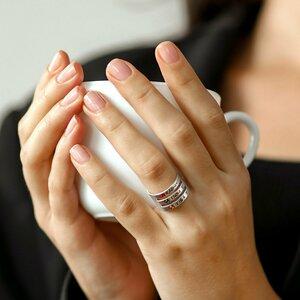 Inel personalizat 3 nume - Argint 925, cristale Swarovski