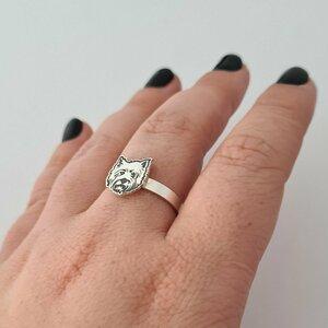 Inel personalizat - Cap de Westie - Argint 925