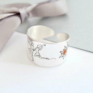 Inel personalizat - Cuplu - Luna si soare decoarete cu email pe laterale - Model lat - Argint 925