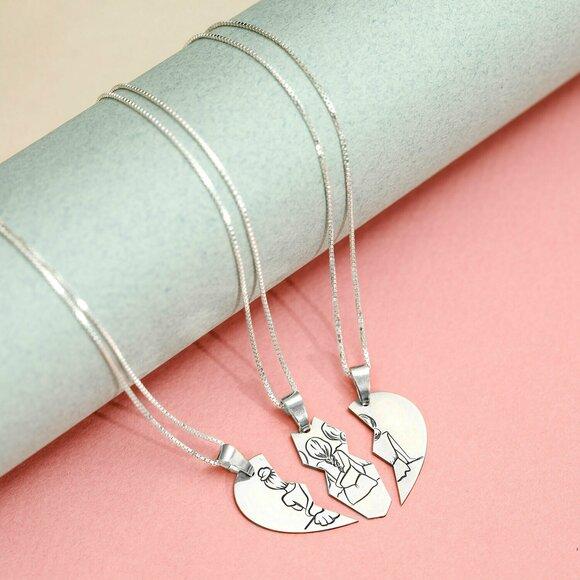Lantisoare Inima Puzzle 3 Surori / Prietene - Argint 925 - set 3 lantisoare