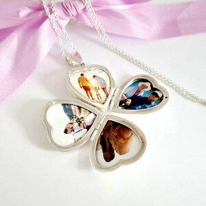 Lantisor cu medalion inima - Deschidere trifoi cu 4 poze in interior - Gravura personalizata - Argint 925
