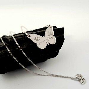Lantisor cu pandantiv fluture personalizat - Aur Alb 14K