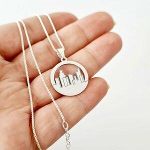 Lantisor cu pandantiv personalizat - Orasul meu - Argint 925