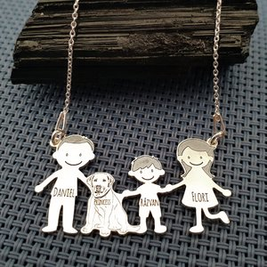 Lantisor Familie - 4 Membri cu Labrador - Argint 925